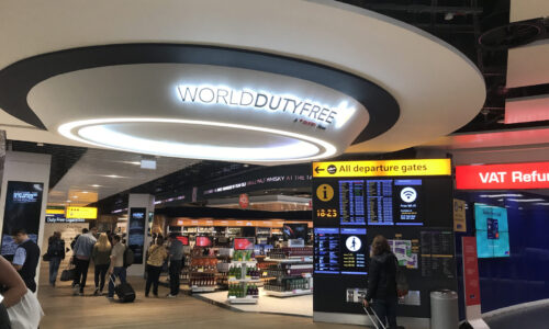 main entrance to duty free area inverted domes and frames